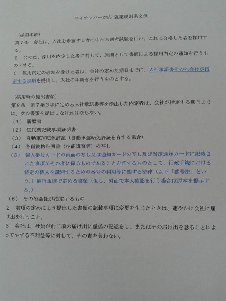 マイナンバー(規則例)